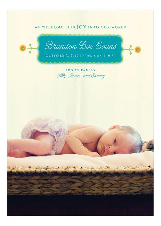 Teal Dotted Border Photo Card Polka Dot Design Birth Announcements