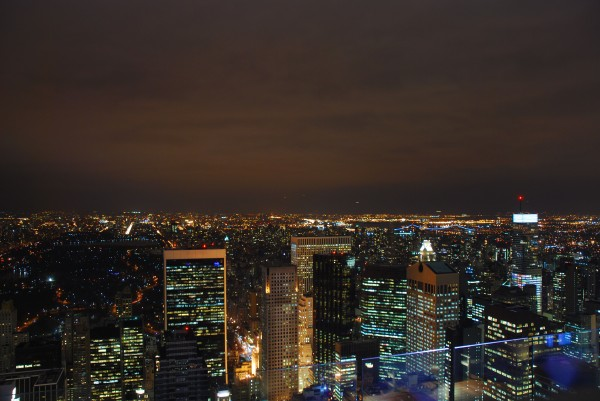 Top of the Rock Observatory at night