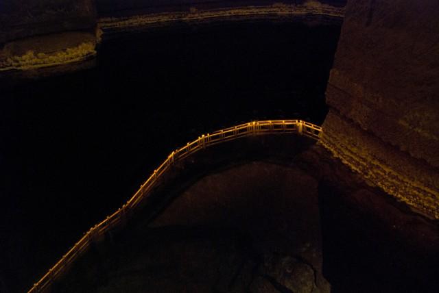 Reflection in an underground lake at Wieliczka Salt Mine