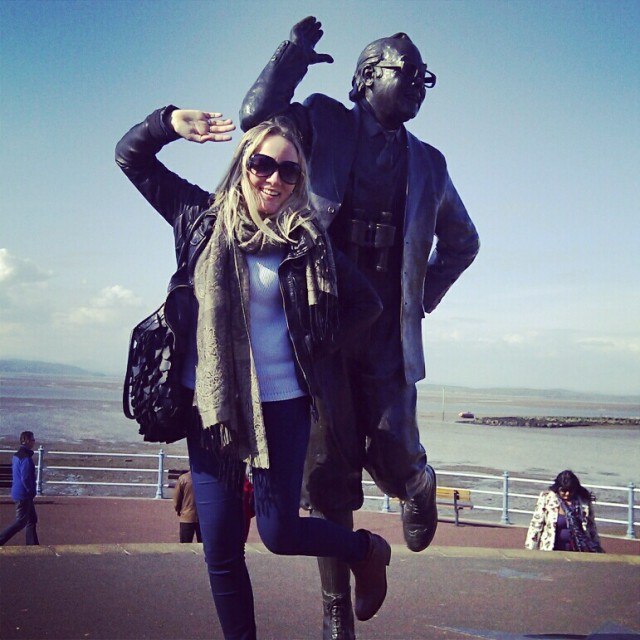 Posing with the Eric Morecambe Statue