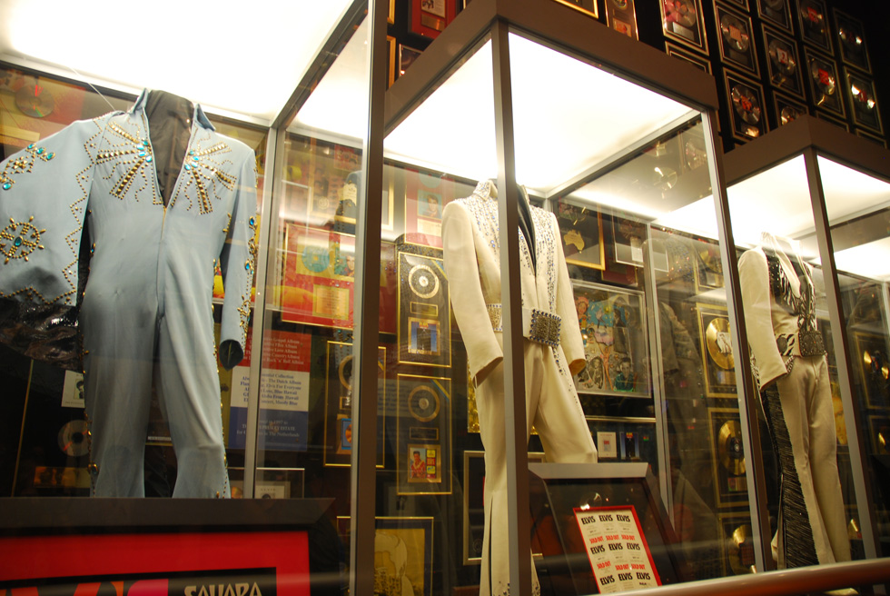Jumpsuits displayed in the Racquetball Court at Elvis Presley's Graceland
