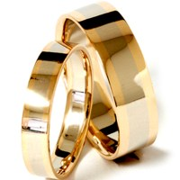 Gold Two Tone Matching His Hers Wedding Band Ring Set | eBay