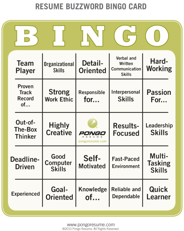 Resume Buzzword Bingo Pongo Blog - resume buzz words