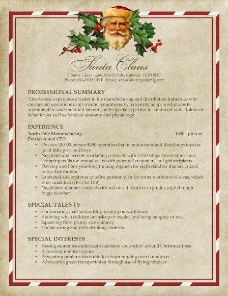 Santa\u0027s Resume Pongo Blog