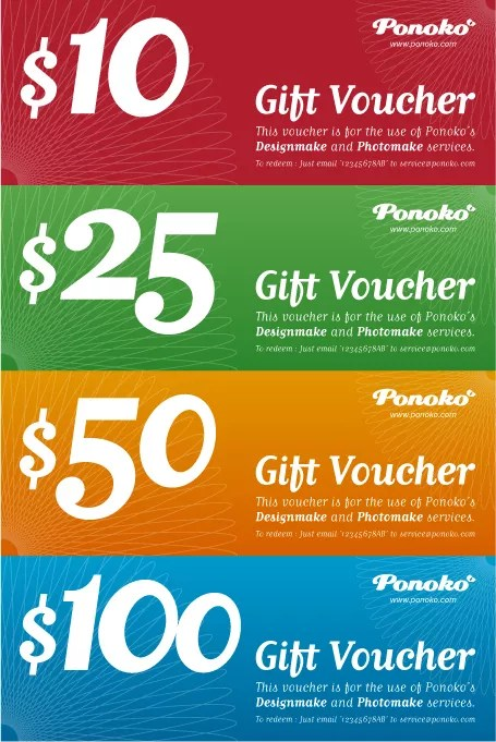 Holiday season gift vouchers - 4 vibrant colors!