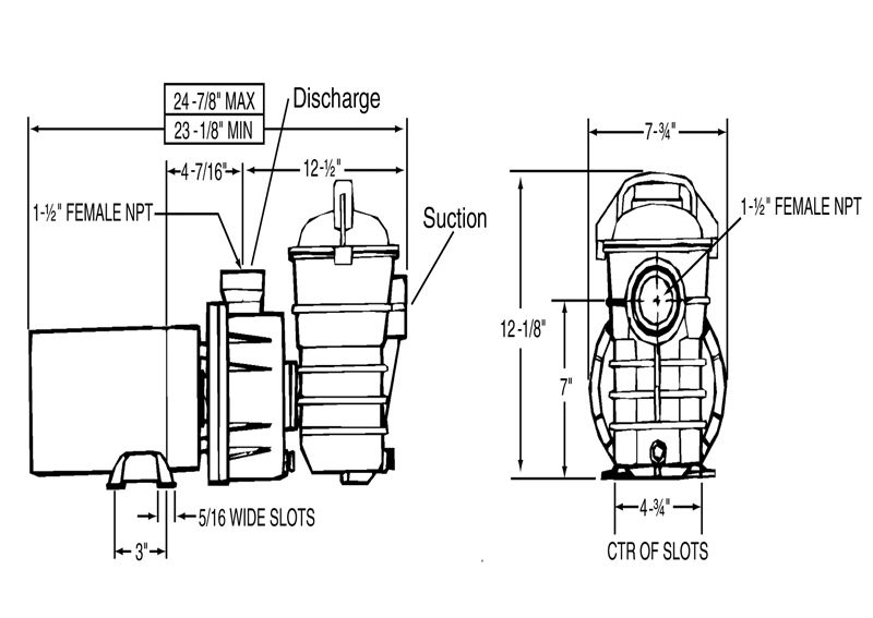 Pentair Dynamo 15HP Above Ground Pool Pump with 3\u0027 Cord 115V 340210