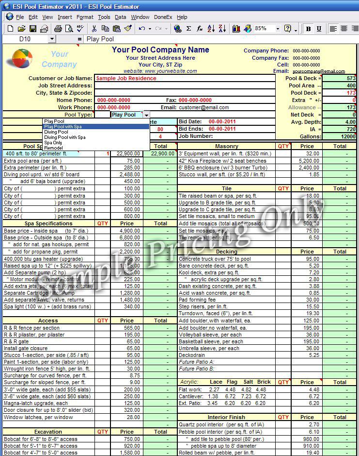 estimating spreadsheet template - Leonescapers
