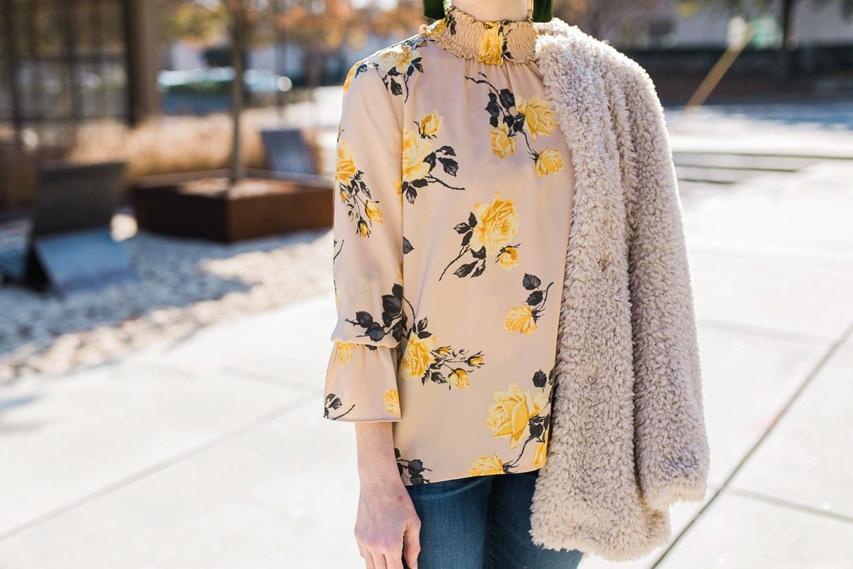 How To Style A Yellow Floral Rose Top In The Winter Poor