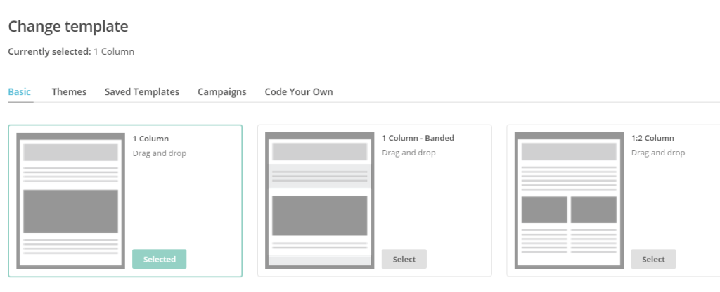 Mail Chimp campaign template selection