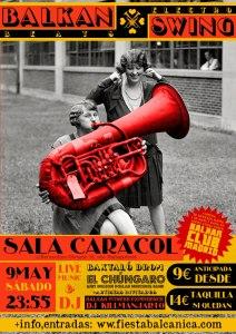 Cartel Fiesta Balkan & Swing. Sala Caracol
