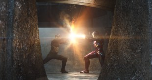 Marvel's Captain America: Civil War..L to R: Captain America/Steve Rogers (Chris Evans) and Iron Man/Tony Stark (Robert Downey Jr.)..Photo Credit: Film Frame..© Marvel 2016