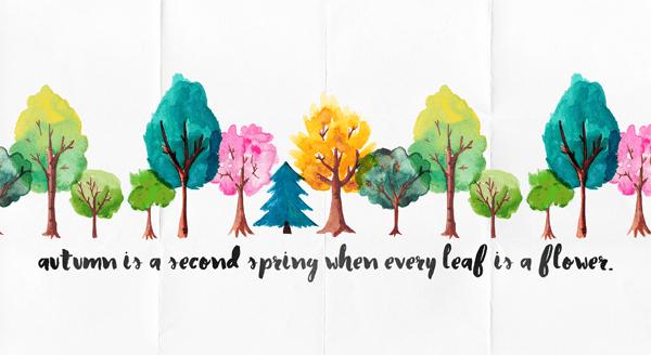 Pretty Fall Desktop Wallpaper Wallpaper Watercolour Trees Quote Preview