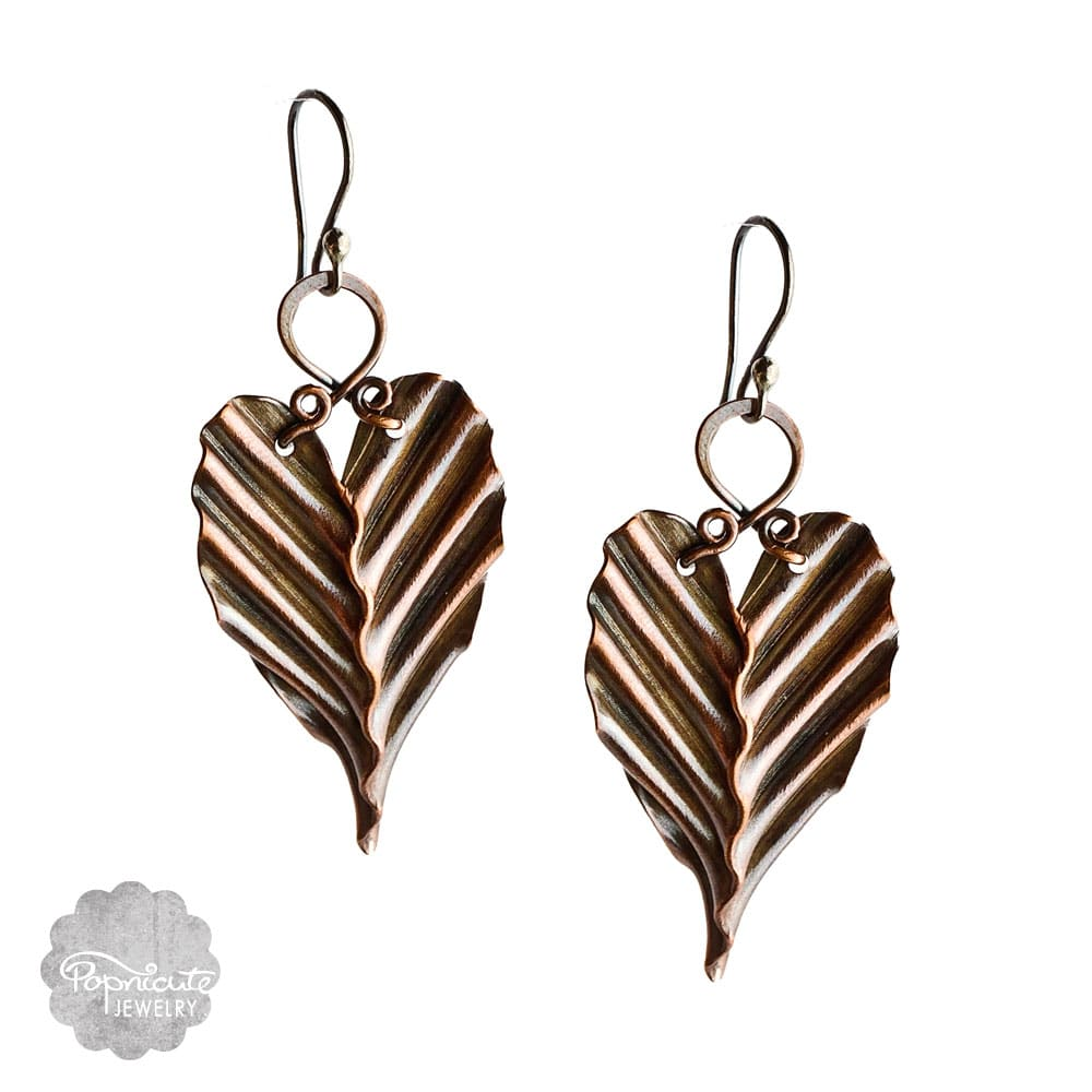 Copper Leaf Earrings, Artistic, Handmade, Unique
