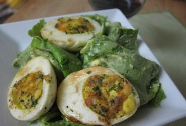 Pan-Crisped Deviled Eggs on French Lettuces | Pork Cracklins