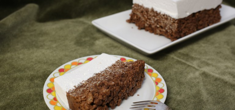 "Chocolate Rice Crispy ""Cake"" with Homemade Marshmallow ""Icing"" 