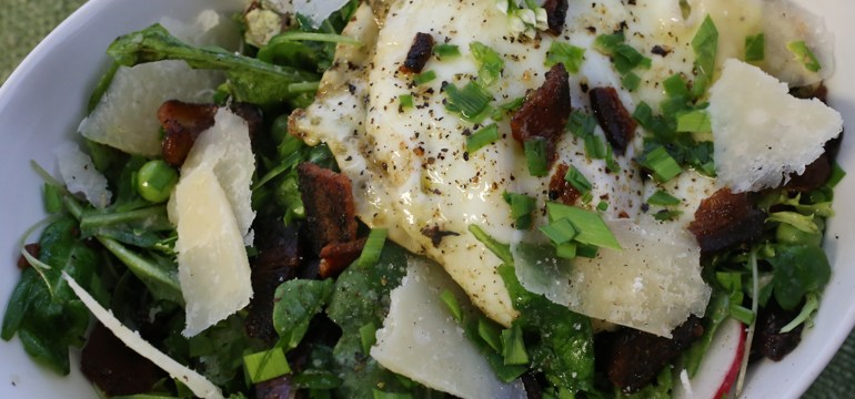 Summer Salad with Peas, Parmesan, Fried Egg & Bacon | Pork Cracklins