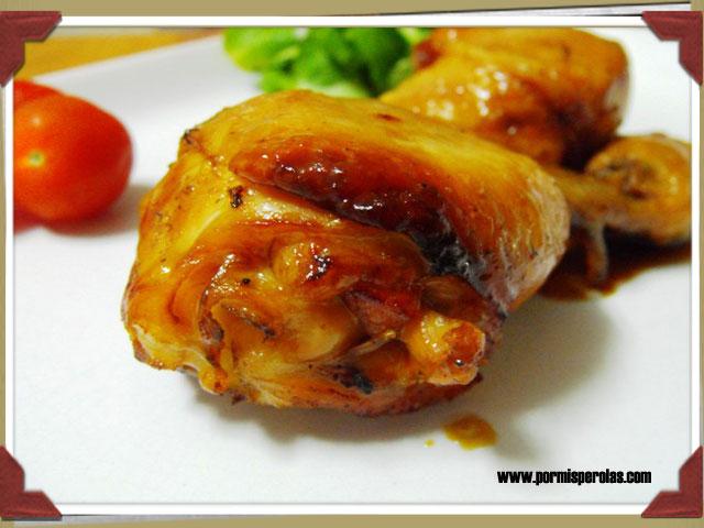 Pollo asado con soja y miel