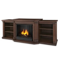 "75.5"" Valmont Chestnut Oak Entertainment Center Gel Fireplace"