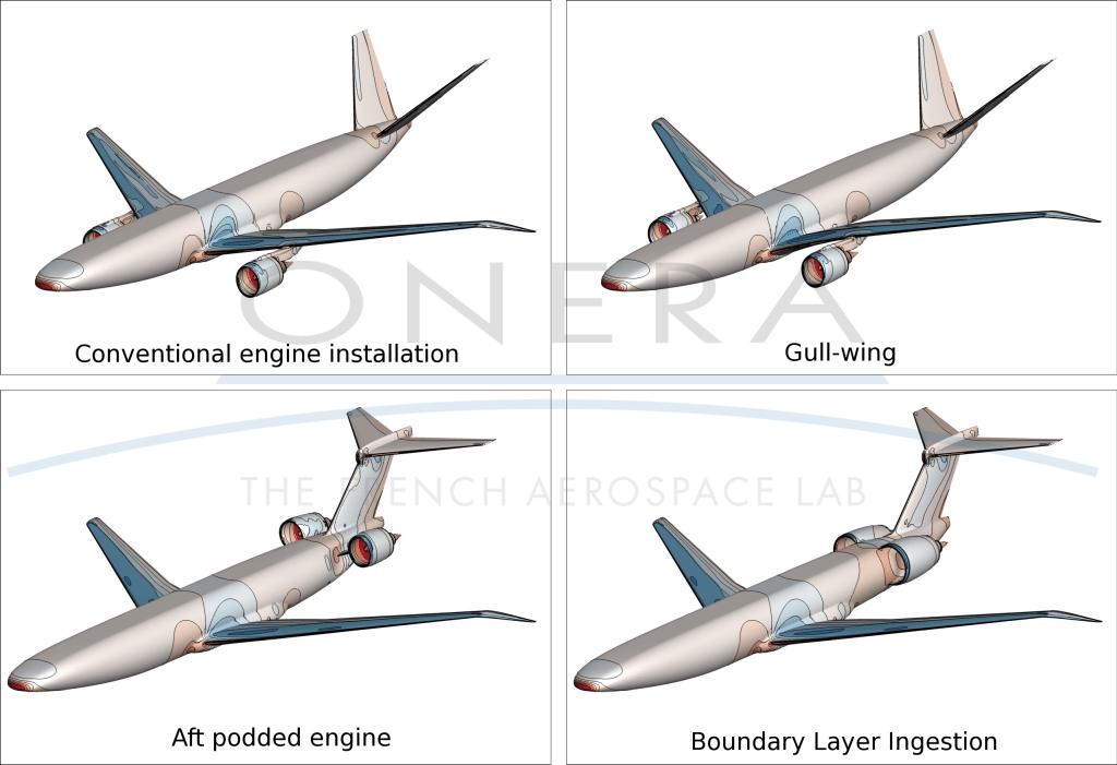 Les quatre configurations étudiées dans le cadre du projet NOVA