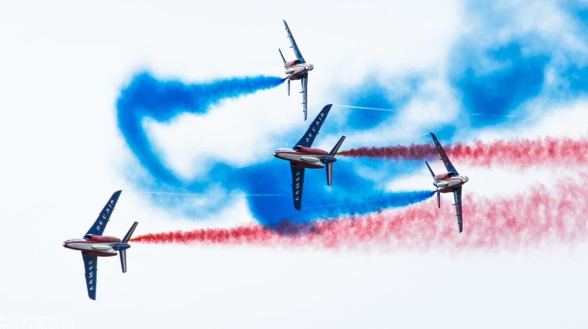La Patrouille de France était bien entendu la star du public, qui avait bravé les averses pour assister au spectacle.