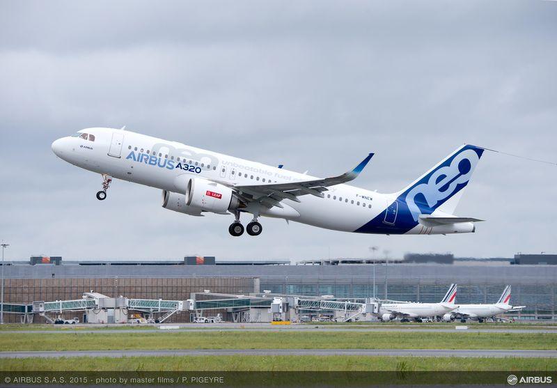L'A320neo lors de son premier vol avec des moteurs LEAP