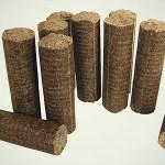 dřevěné brikety válcové