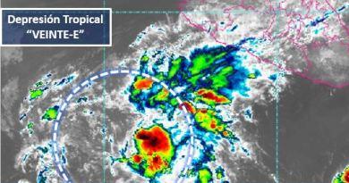 """Se ha formado la depresión tropical  """"VEINTE-E"""" al suroeste de Michoacán y Colima"""