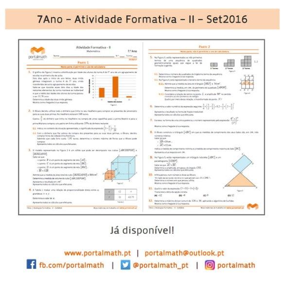 7Ano - Atividade Formativa II - Matemática Novo Programa 7º ano
