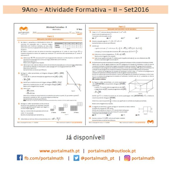 9Ano - Atividade Formativa I - Matemática - Exercícios