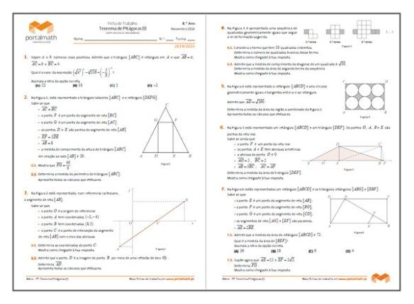 8Ano Teorema de Pitágoras Matemática Ficha de Trabalho portalmath