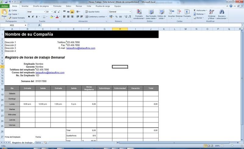 Excel Horas de trabajo semanales - Descargar Gratis