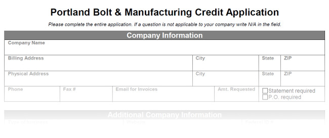 Credit Application - Portland Bolt - credit application