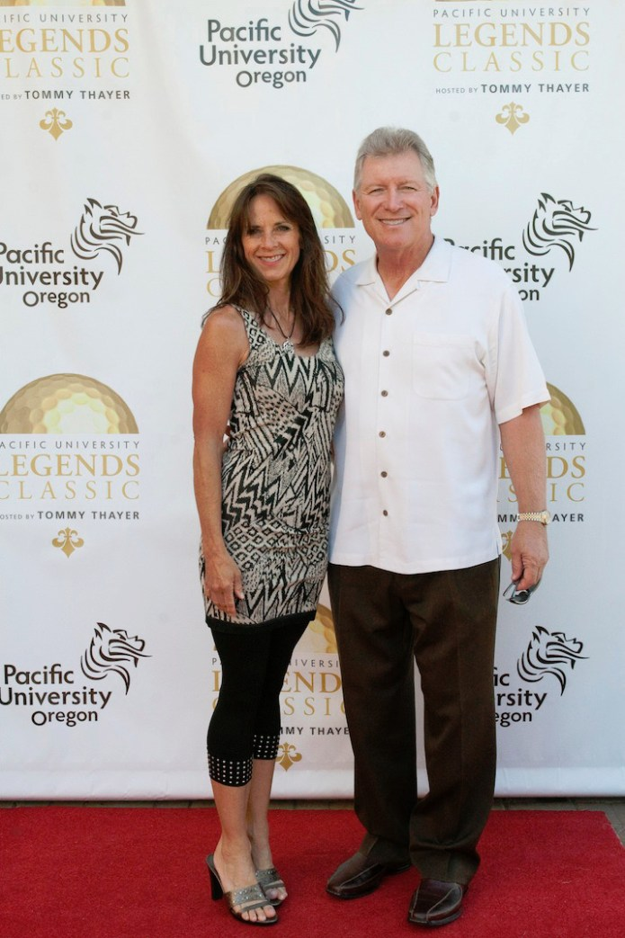 Former Oregon football coach and ESPN analyst Mike Bellotti and Colleen Bellotti