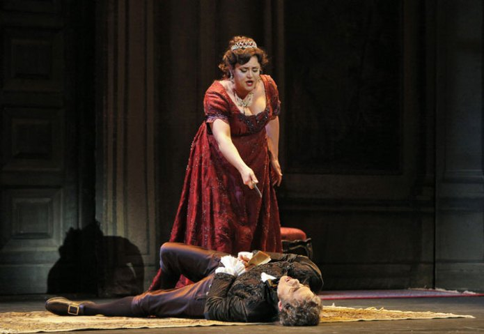 Kara Shay Thomson as Tosca, Mark Schnaible as Scarpia, © Portland Opera / Cory Weaver