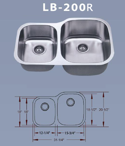 Lb 200r Esi Double 16 Gauge Stainless Undermount Sink