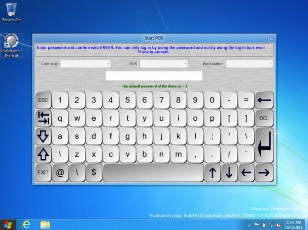 PosBill auf einer Microsoft Windows 8 Testinstallation