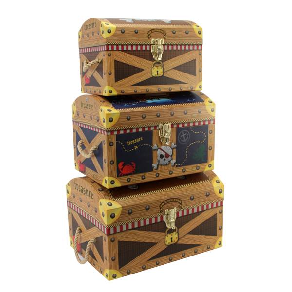 Little Boys Pirate Storage Boxes Set Of 3 Toy Box For Boys