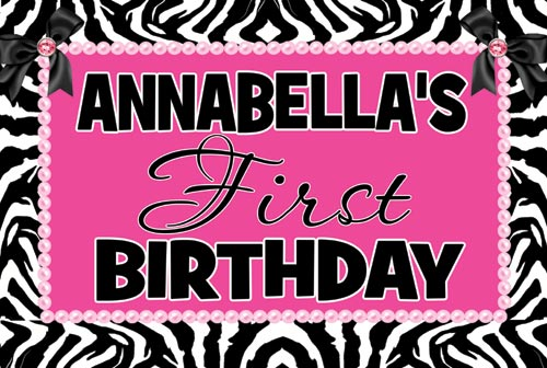 Zebra Hot Pink First Birthday Banner - first birthday banner