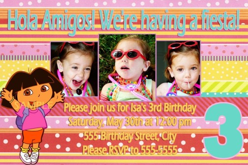 Dora Candy Coated Colorful Birthday Invitations