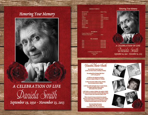 Red Rose Funeral Program Memorial Service Celebration of Life - memorial program