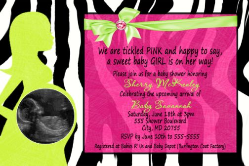 Zebra, Hot Pink, Lime Green Baby Shower Invitation with Pregnant