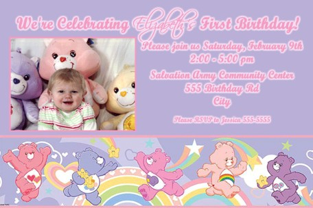 Care Bears Purple Birthday Invitation