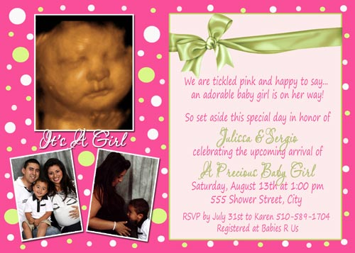 Hot Pink Lime Green Baby Shower invitations