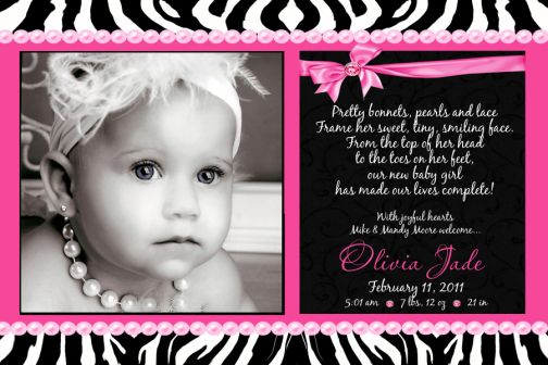 Zebra Hot Pink Pearls Bling Baby Birth Announcement - Baby Girl Birth Announcements