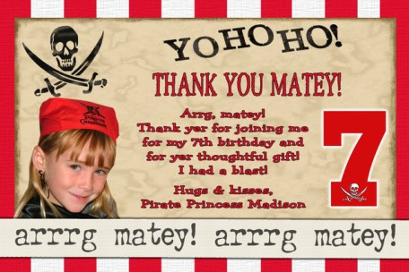 Yo Ho Ho Pirate Thank You Card or Birthday Party Invitation