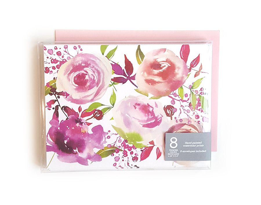 Pink Floral Notecards (Boxed Set of 8) -