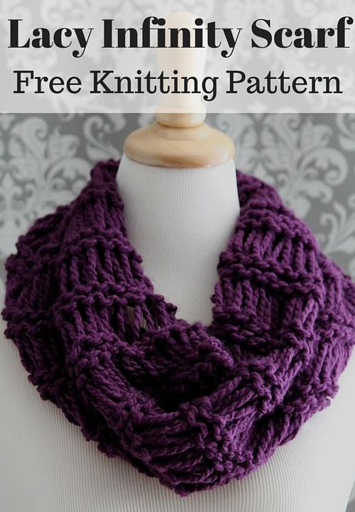 Lacy Infinity Scarf Free Knitting Pattern