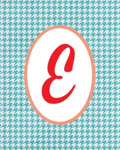 Blue Monogram E