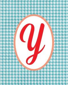 Blue Monogram Y