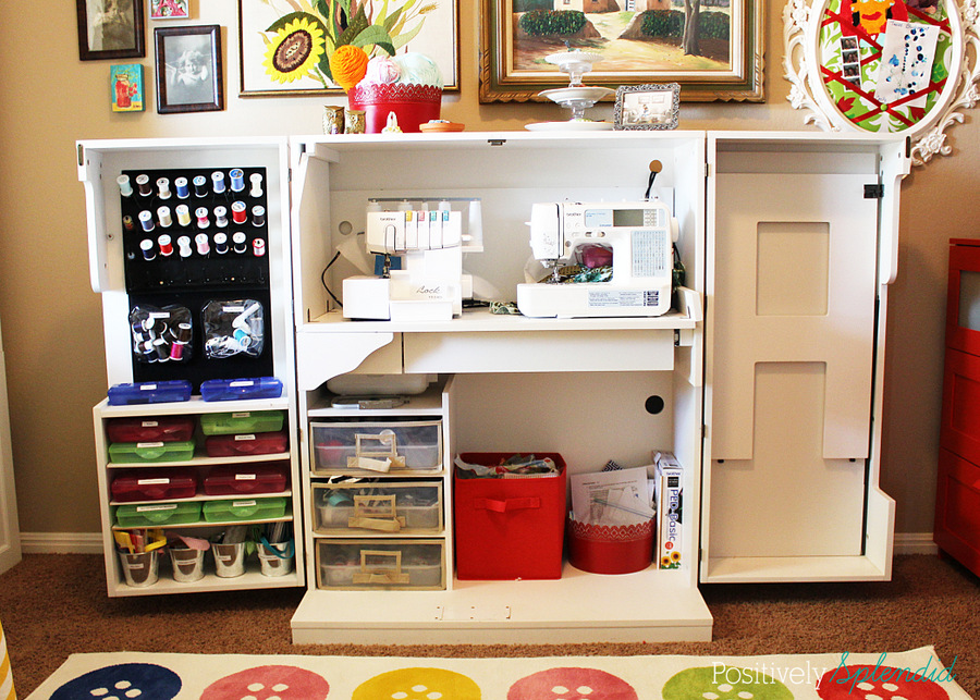Bright and eclectic craft room at Positively Splendid